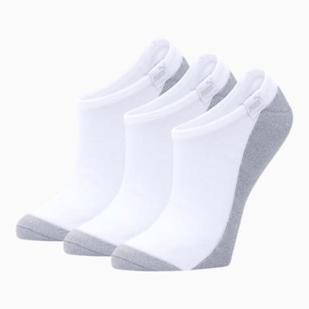 Women's No Show Socks [3 Pack], WHITE / GREY, small